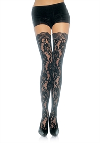 Obrázek LACE STOCKINGS WITH LACE TOP OS